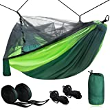 Zone Tech Camping Hammock w/ Mosquito Net - Premium Quality Large Portable Travel Camping Outdoor Indoor Hammock with Tree Straps, Insect Net- Single & Double Person Use- Backpacking, Hiking, Beach