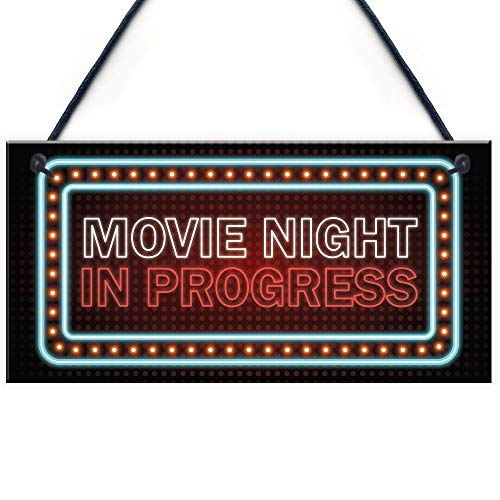 RED OCEAN Novelty Cinema Room Sign NEON EFFECT Movie Night Plaque Home Decor Gift