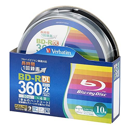 10Verbatim BluRay BD-R DL 50gb 4x Speed inkjet Printable Blu-Ray