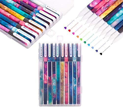 Lazyaunti 10 colored pens Journal Fineliner Markers Gel Ink Ballpoint pens Planner Tip coloring pens for Bullet Journaling Note Taking Calendar Agenda Coloring Art office Supplies (Galaxy)