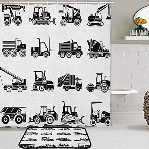 ScottDecor Boys Bathroom Shower Curtain Sets Heavy Machinery and Vehicles of Construction Mining Site Drawn in Black on White Carpet for Living Room Black White