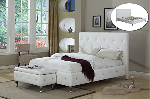 Hot Sale White Tufted Design Leather Look Queen Size Upholstered Platform Bed