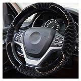 Coperchio del volante Pelliccia in pelliccia pelliccia Furry Bruffy Spessore Auto Volante Copertura Universale Inverno Soft Warm Peluche Accessori per auto Fit 14.5-15in / 37-38 cm ( Color : Black )