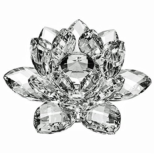 Amlong Crystal 4 inch Clear Crystal Lotus Flower with Gift Box