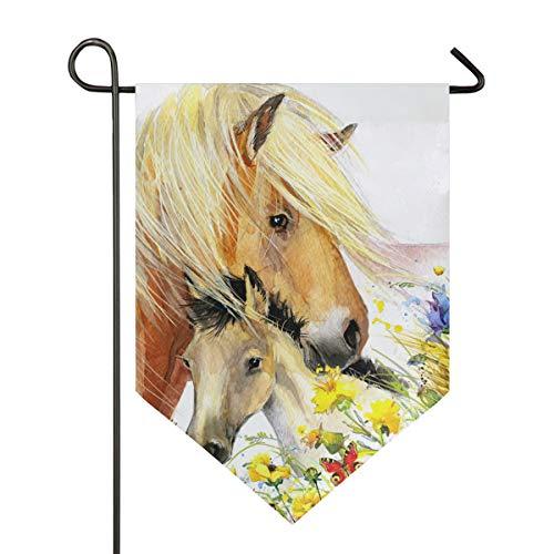 XiangHeFu Tuin Vlag Paard En Veulen Met Weide Bloemen 12x18.5 Inches (12