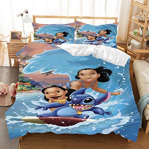Disney Lilo Stitch - Juego de ropa de cama infantil, funda nórdica de microfibra con cremallera, diseño de dibujos animados, 2/3 piezas, regalo para niños (135 x 200 cm)