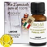 BiomIntegra Olio Essenziale Limone PURO 100%| Per Diffusori PURIFICAZIONE ARIA. Ottimo Olio per Nasoterapia | Anche Oli Essenziali Puri per Aromaterapia e Essenze per Candele. Made in Italy - 10ml -