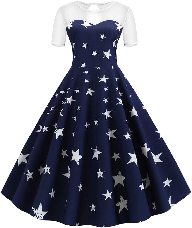HKDQZ Women Dress Vintage Short Evening Party Dress Fashion Dress