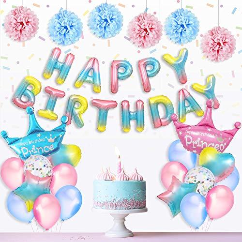 Decoración cumpleaños para Niños, degradado HAPPY BIRTHDAY con globos de príncipe/princesa corona, globos de estrellas con forma de corazón/arco iris globos de confeti y pompones de papel
