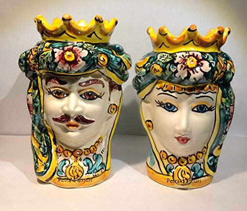 Petra d'amuri Coppia Teste di Moro Siciliane Hand Made in Ceramica Siciliana H 14