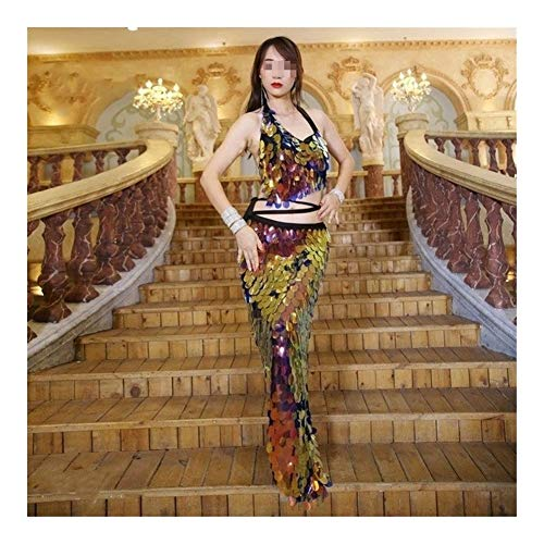ZNXHNDSH HND Vientre de la Mujer Traje de la Danza de Hip Conjunto Dama Toalla de Danza del Vientre Top + Hip Abrigo de la Bufanda de la Correa Vestido de Lentejuelas Danza