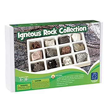 Educational Insights Igneous Rock Collection Ages 8 and up Set of 12 Handpicked Specimens in a Storage Tray