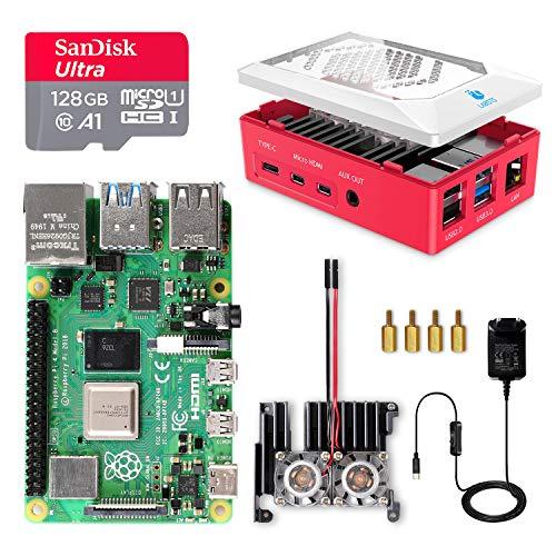 Raspberry Pi 4 8GB, Starterkit,128GB Micro SD-Karte, USB-C EIN/Aus-Schaltnetzteil, Kühlkörper, Micro HDMI-Kabel, Gehäuse