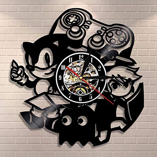 Mango de Juego Sala de Arcade Consola de Juegos de Cartas montada en la Pared Disco de Vinilo Reloj de Pared Juego Regalo para niños Creativo Retro Videojuego Reloj de Pared decoración del hogar