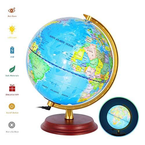 "Illuminated Globe Globes of The World with Stand Globe for Kids Globe lamp 8"" Geographic Globe with LED Light Illuminated 2-in-1 Desktop World Globe Discovery Educational World Globe"