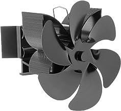 Gazechimp Ventilador de Estufa montado en suspensión circulante de 6 Cuchillas con Quemador de Gas y Calor para Quemador de leña/leña ecológico - Negro
