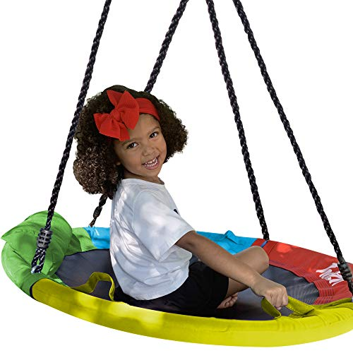 "Hazli 40"" Saucer Swing for Kids Outdoor with Straps- Round Outdoor Swings for Swing Set - Large Tree Swings for Children with Hanging Kit - Heavy Duty Children Disk Swing for Outside"