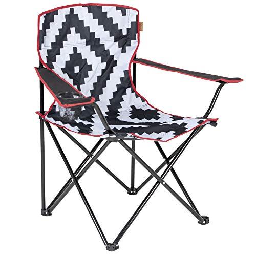 Camping Klappstuhl mit Tragetasche belasbar bis 100 kg in schwarz-weiß 2,3kg • Campingstuhl Faltstuhl Gartenstuhl Stuhl Klappsessel Outdoor