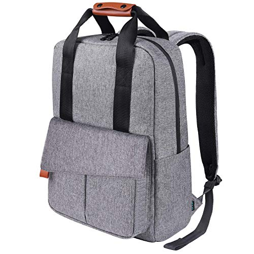 Reyleo Backpack Business Laptop Bag 15.6 Anti-Theft Rucksack Casual Daypack With Leather Handle for Women Men - 24L/Light Grey