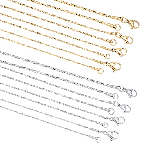 UNICRAFTALE 8pcs 0.8/1/1.2/1.6 mm Collar de Cadena Coreana 50 cm Collares de Cadena de Acero Inoxidable con Cierres de Langosta Mujeres Hombres Cadena de Color Dorado Y Acero Inoxidable