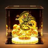 Royal Kiss Dragon Ball Z Figurines Shenron Action Figure Shenlong with Dragon Ball Set 7PCS 35mm Crystal Dragon Balls +Acrylic Shelf Charging Light (Set Green Dragon)