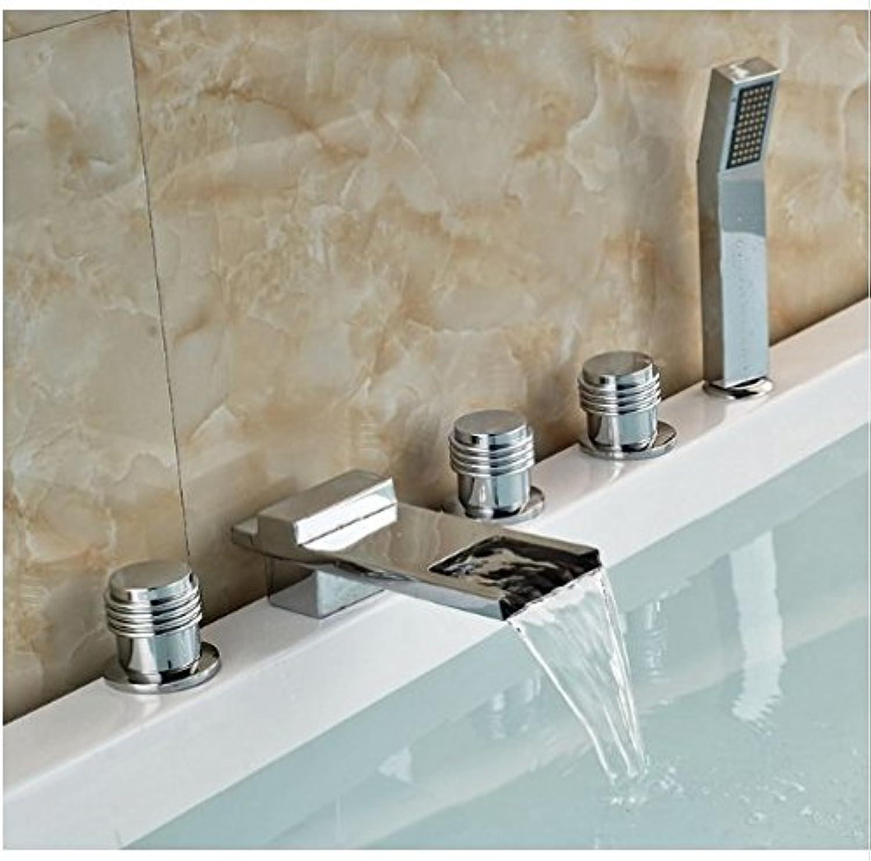 Gowe? Bath Swivel Spout Chrome Finish Shower Set Deck Mounted 5pcs Shower Jets With Handheld
