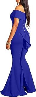 Women Elegant Back Ruffles Sexy Off Shoulder Gown Maxi Evening Party Mermaid Dress