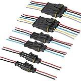 CESFONJER Electrico Impermeable Conector | Conectores Sellado, para Auto Motocicleta Scooter Camión Juego de Enchufes Marinos (2 Pin con Cable × 2 Kit, 3 Pin con Cable × 2 Kit, 5 Pin con Cable × 2)