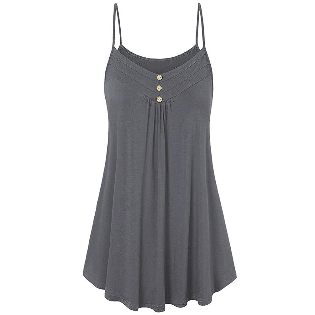 ?HebeTop Women Summer Loose Button V Neck Cami Tank Tops Vest Blouse