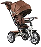 Bentley - Triciclo Evolutivo Licencia Triciclo con Asiento Giratorio y Capota, Incluye Bolso - Triciclo para bebés a Partir de 12 Meses (Brown and White Satin)
