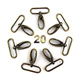 RUBY-20 Anillas Giratorias Mosquetón Ovalado para Bolso Swivel gatillo Ganchos (Bronce, Interior 3.9cm)