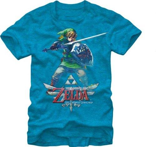 Nintendo Men's Skyward Link T-Shirt, Turquoise Heather, Medium