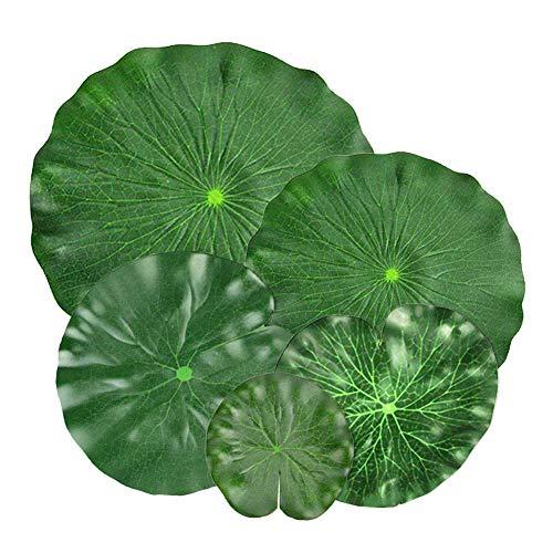 EQLEF Lotusblätter künstlich Schwimmender Schaum Lotus Blätter künstliche Laub Fisch Teich Dekoration Pack von 5(Simulation Lotusblatt)