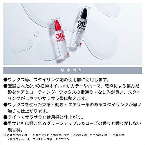 LIPPS(リップス)ベーススタイリングオイル100ml(グリーンアップル&ローズの爽やかな香りNEW)メンズダメージケアうるおい髪の毛ヘアオイルヘアケアヘアトリートメント