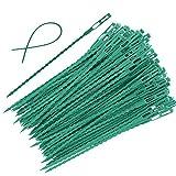 EuTengHao 100 Pieces Adjustable Garden Plant Twist Ties, 9 Inch Flexible Plastic Twist Ties Multi-Use for Secure Vine (Green)