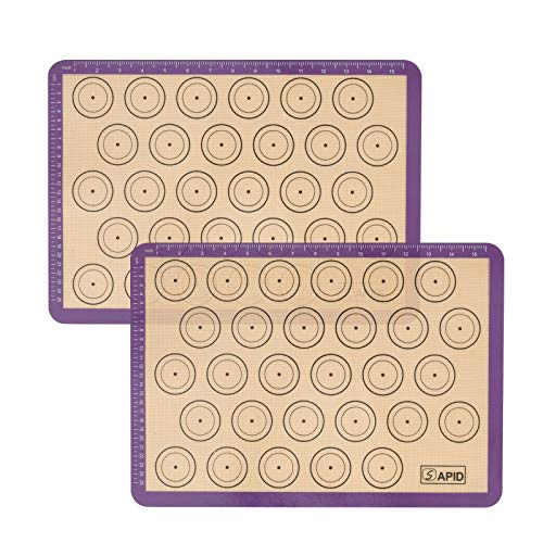 Sapid Non-Stick Silicone Macaroon Baking Mats Set of 2 Half Sheets(16.5' x 11.6'), Heat- Resistance Silicon Baking Tray Liners Mat for Cookie/Pizza/Bread, Counter Mat (Purple, 2Pcs)