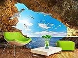 Fototapete Blauer Himmel, Weiße Wolken, Möwe, 3D-Landschaft, Fernseher, Sofa, Hintergrundwand Wohnkultur Benutzerdefiniert in jeder Größe