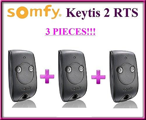 3x Somfy Keytis 2NS RTS, 2canales mandos a distancia. Parte superior calidad original Somfy mandos a distancia para el mejor precio. 3piezas.