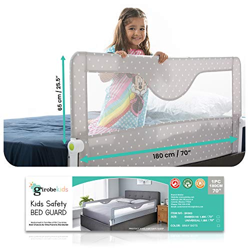 Girobe Kids Bed Rail for Toddler Bed Extra Long with Foldable Button, Babies Sleep Safety. Detachable on Tween, Full, Queen, and King Size Bed and Mattress (70 INCH)