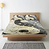 MAYBELOST Parure de lit,Ying Yang Grunge Style avec Peinture Splash Effect Design Industriel Design Asiatique Duality Zen Theme,1 Housse de Couette 240x260 + 2 Taies d'Oreillers