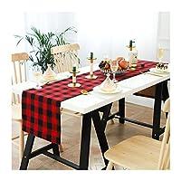 黒と白の格子縞のテーブルランナー家族の夕食、屋外または屋内のパーティーのための赤と黒の格子縞のテーブルランナー、14×72インチ(36 * 183cm),Red and black