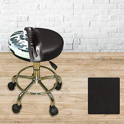 Bar Stool Cover Replacement Staple On Seat Top Made with Heavy Duty Commercial Grade Vinyl (14 inch Diameter, Black)