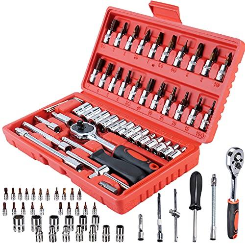 """Set di chiavi a bussola, 46 pezzi, con chiave a tubo, cricchetto, chiavi a cricchetto, adattatore per chiave a bussola da 1/4"""", set di attrezzi per casa, auto e moto"""