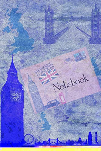 Notebook: UK London Blue Digital Mixed Media Art Cover | Composition Books | Notebooks | Wide Ruled Line Paper | 120 Pages | Soft Cover