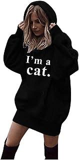 Fossen MuRope Sudaderas con Capucha Largas Mujer Tumblr Impresión de Cartas I'm a Cat - Camiseta de Manga Larga para Adole...