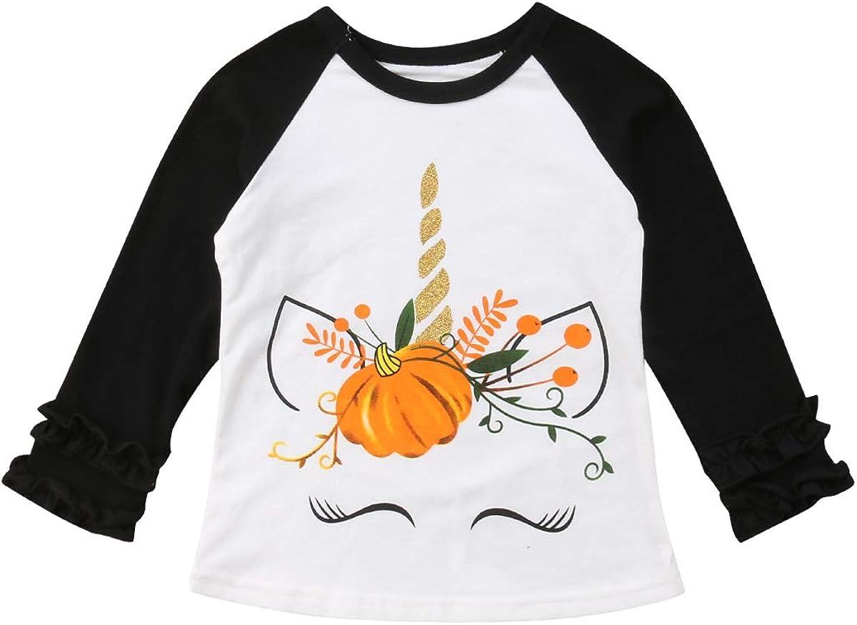 Toddler Little Girl Thanksgiving Shirt Long Sleeve Unicorn Ruffle Blouse Top Baseball Shirt