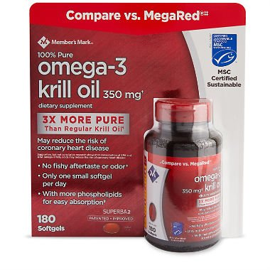Member's Mark 100% Pure Omega-3 Krill Oil, 350 mg 180 ct. (pack of 3) A1