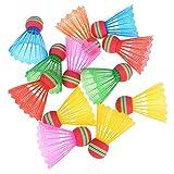 ABOOFAN 12 bolas de bádminton de plástico resistentes a golpes y bádminton resistentes a las caídas para actividades en interiores y exteriores (color al azar)