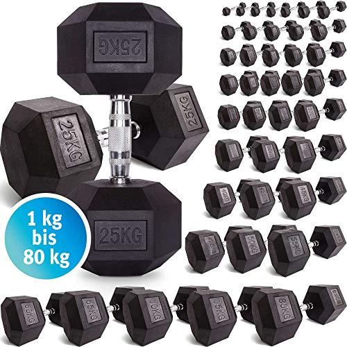 C.P. Sports Hexagon Kurzhantel Gummi 1-60 kg - mit Beschichtung und ergonomischen Chrom-Griff, Kurzhantel, Kurzhantel-Set, Dumbbel, rutschsicher (2kg-Paar)
