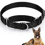 Collar de Perro Martingale Anti-Escape Collar Martingale Negro Collar de Mascotas de Nailon Ajustable para Perros Medianos Caminar Viajar Entrenamiento Diario (M)